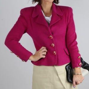 ST. JOHN Pink Button Down Knit Blazer Jacket